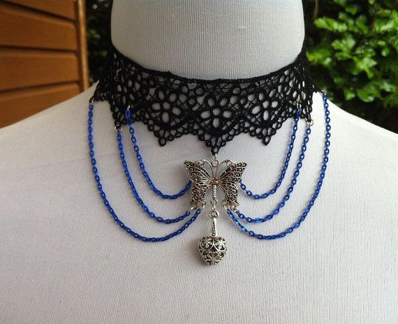 Black lace choker with silver butterfly and by CindysAccessories, $25.00