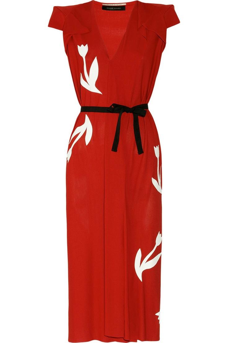Leather-appliquéd crepe dress by Roland Mouret