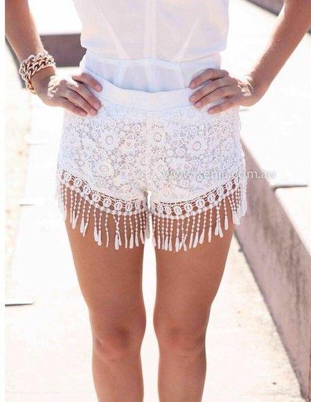 крючком старинные модные шорты кисточки белые кружевные шорты летом шорты довольно