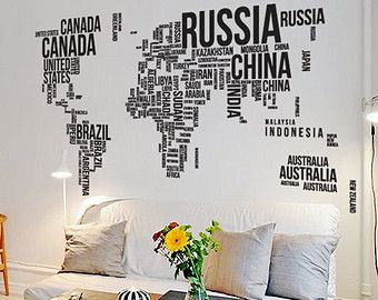 14 best wall images on pinterest world maps wall maps and world typography world map wall decal large text map 130w by newpoint gumiabroncs Images