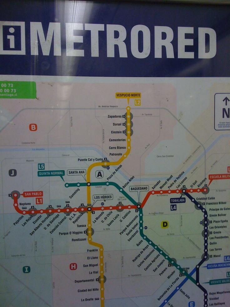 Metro map Santiago - Chile