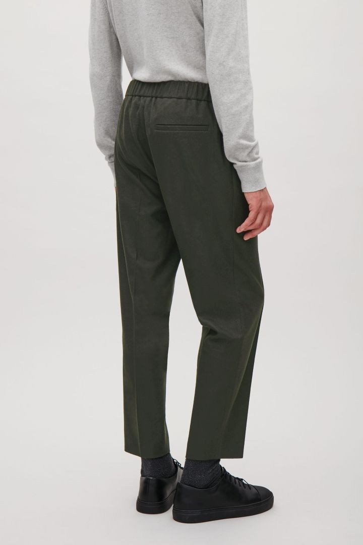 COS image 3 of Trousers with elastic waist in Olive Green