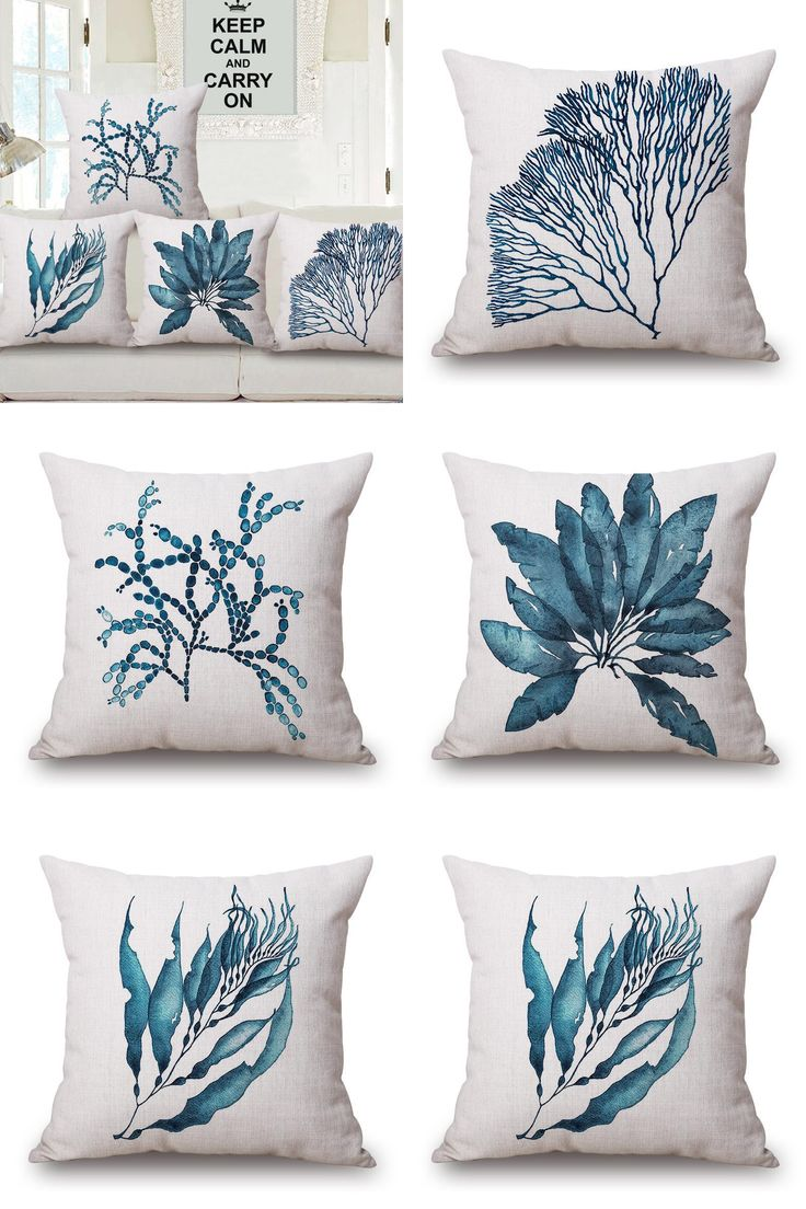 [Visit to Buy] Mediterranean Style Cushion Cover Blue Sea Plants Throw Pillow Case Decorative Beach Decor Plant Free Shipping #Advertisement