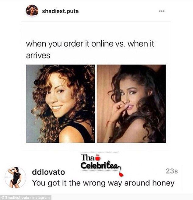 Team Ariana: Demi was likely upset about the backlash she received after commenting on this meme which unfavorably compared Ariana Grande to Mariah Carey