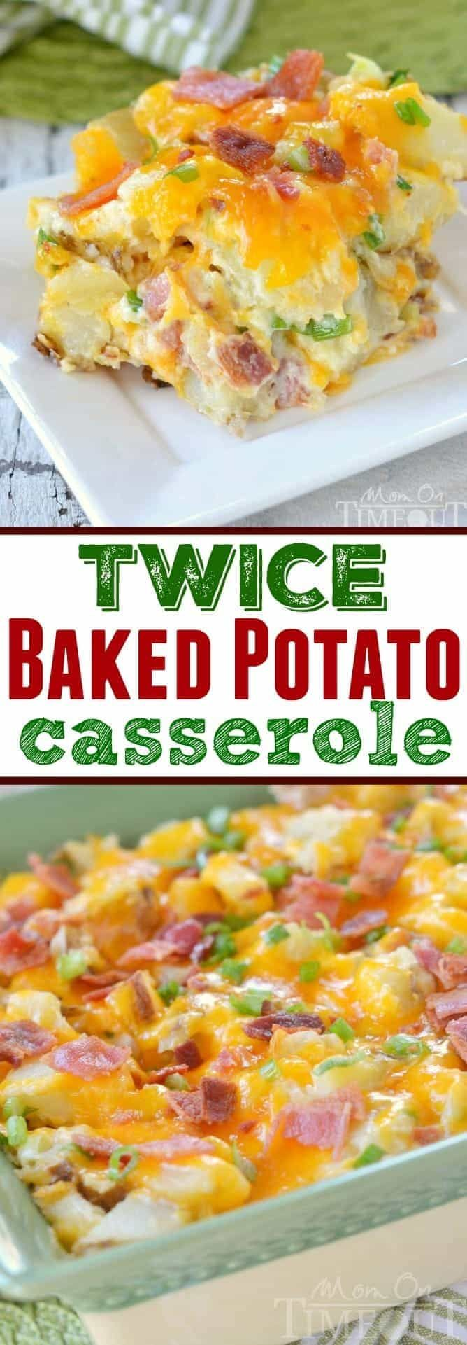 There's nothing more comforting than twice baked potatoes - unless you turn them into a casserole! This Twice Baked Potato Casserole has all your favorite flavors from a twice baked potato but in a delicious casserole form - yum! // Mom On Timeout #sidedish #potato #potatorecipe #cheese #bacon #recipe #Christmas #thanksgiving