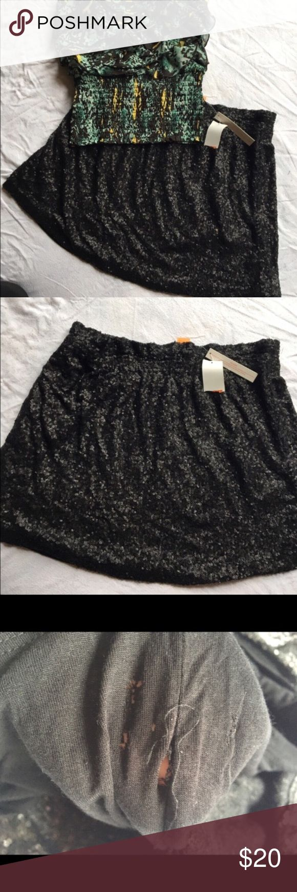 BNWT Sparkle Mini Skirt Girls night out here you come! Beautiful and sassy Sequin mini skirt. Stretch waistband. BNWT but does have a tear in the interior lining (not noticeable and doesn't affect wear at all). Shine like the star you are in this comfortable and sexy skirt! Joe Fresh Skirts Mini