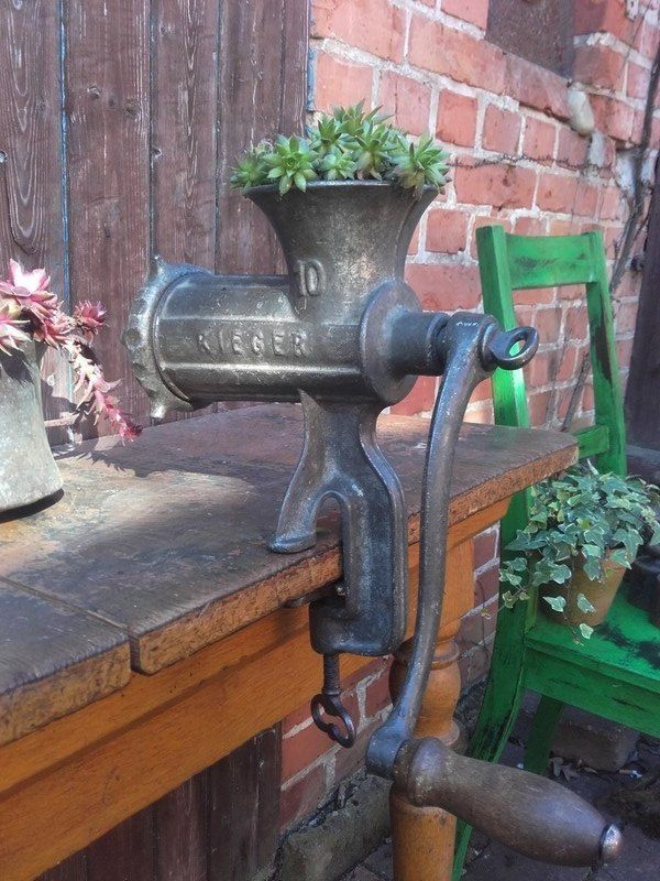 Fleischwolf Alexanderwerk Gusseisen Deko Gartendeko Etsy Iron Decor Garden Decor Decor