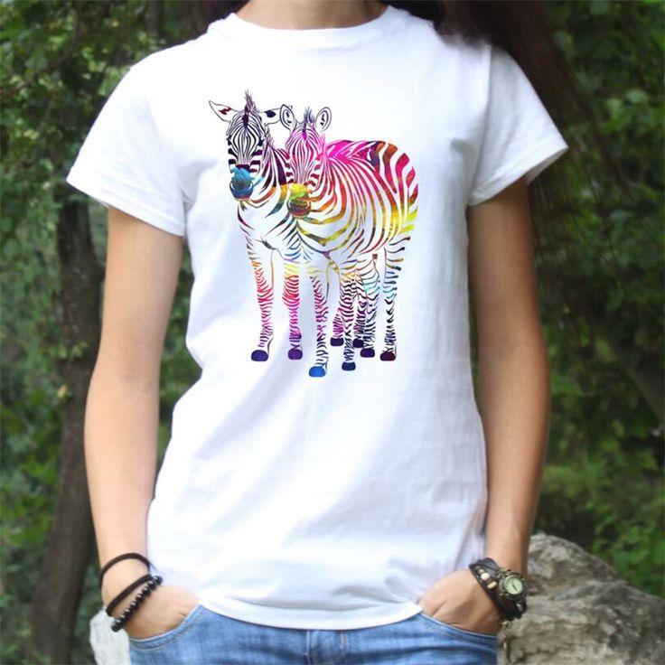 Kawaii Animal Art Tshirt Femme Dinosaur/Giraffe/Zebra Custom Print Tee Shirt Women 2017 Summer Casual White T-Shirt Ladies