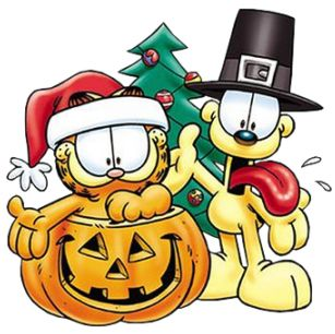 thanksgivingfreeclipart garfield and odie celibrating halloween thanksgiving christmas holiday thanksgiving cartoonholiday - Holiday Cartoon Images