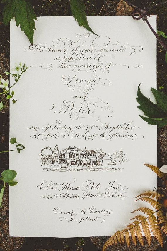 Hand Calligraphy Wedding Invitation - Hand Lettered design - Invitation & Reception Card Artwork - With Custom Venue Illustration