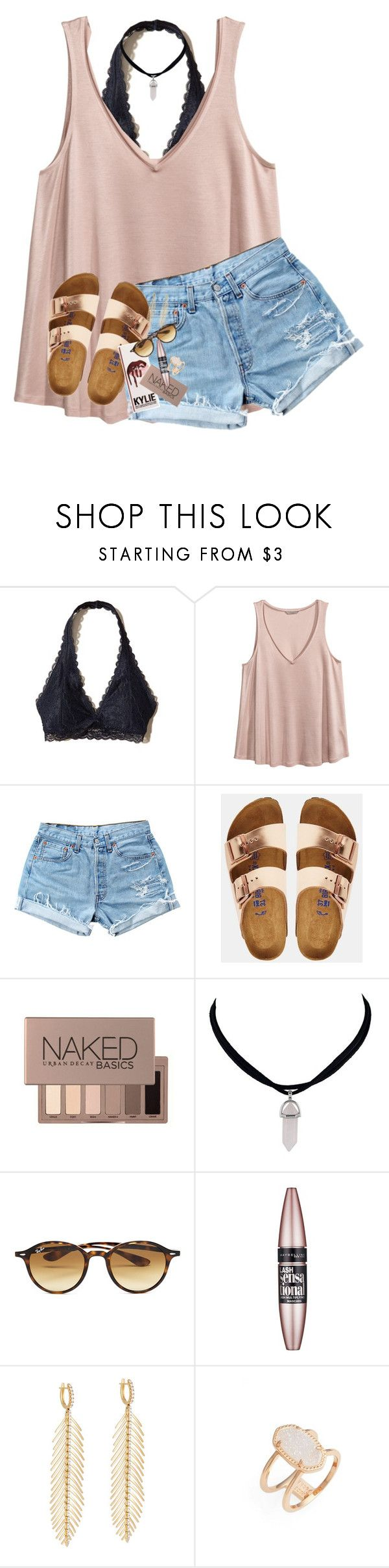 im still standing better than i ever did by lindsaygreys ❤ liked on Polyvore featuring Hollister Co., HM, Levis, Birkenstock, Urban Decay, Ray-Ban, Maybelline, Sidney Garber and Kendra Scott