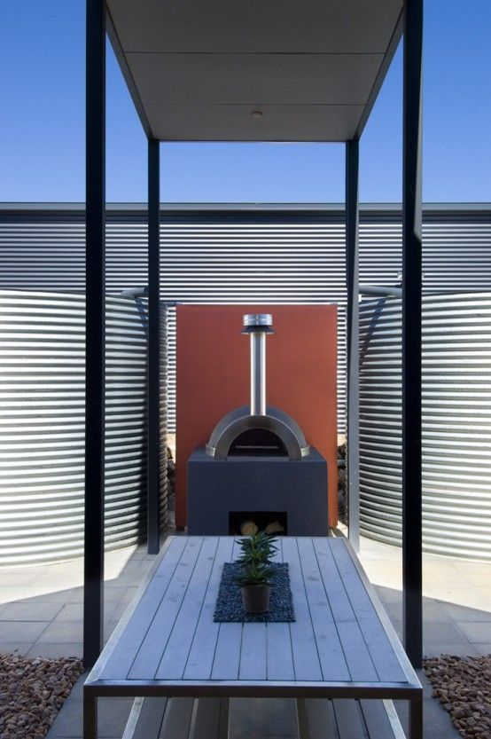 Coastal House Design with Rear Sheltered Courtyard and Wood Fired Pizza Oven