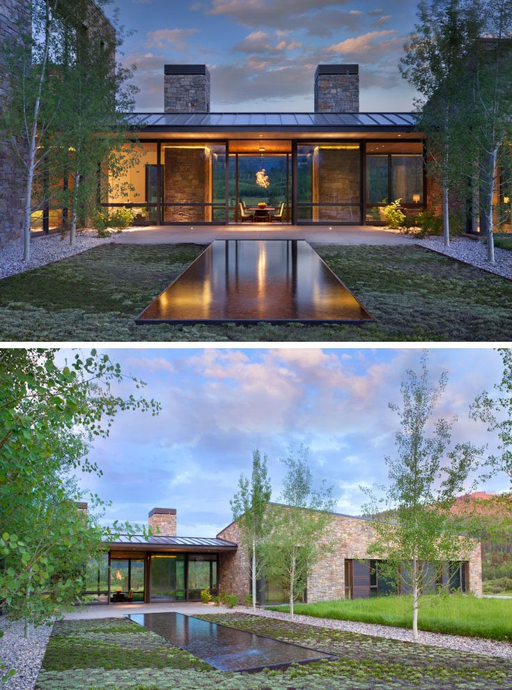 This modern house has a courtyard with a modern water feature. #Landscaping #WaterFeature
