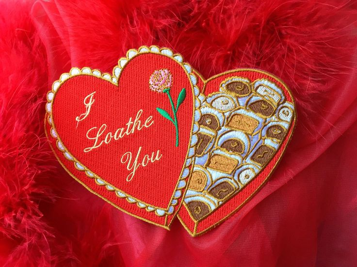 I Loathe You Valentine Box Embroidered Iron On Patch   #patches #patchgame #heart #valentine #red #aesthetic #chocolate #roses #creepygals #etsy