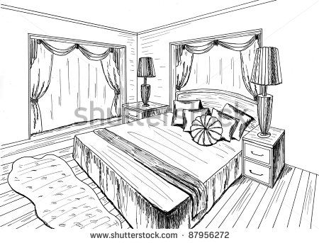 How To Draw A Bedroom