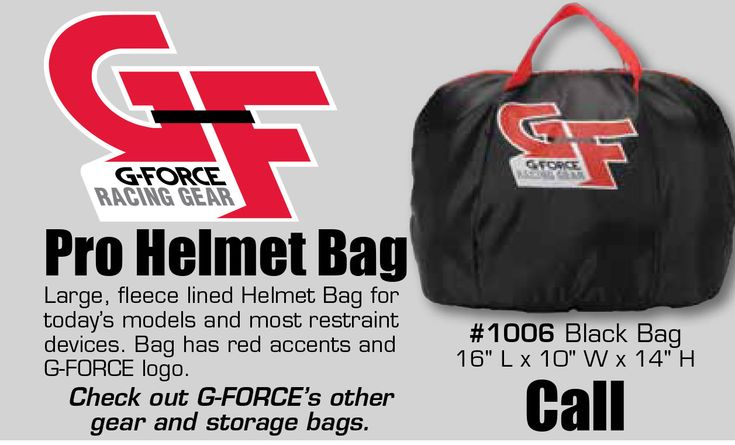"""We Carry GF Pro Helmet Bags. Call us for pricing!   This is perfect for anyone who is serious about racing.  Large, fleece lined Helmet Bag for today's models and most restraint devices. Bag has red accents and G-FORCE logo.  #1006 Black Bag 16"""" L x 10"""" W x 14"""" H  Check out G-FORCE's other gear and storage bags.  https://aadiscountauto.ca/special/1140/gf-pro-helmet-bag.html  #Racing #GFHelmet #GFHelmetBag #AADiscountAuto #AAPerformance #HelmetBag"""