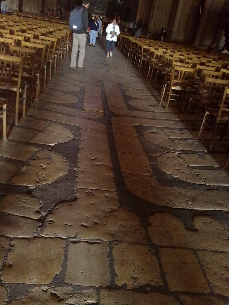 Chartres 12 path labyrinth under chairs