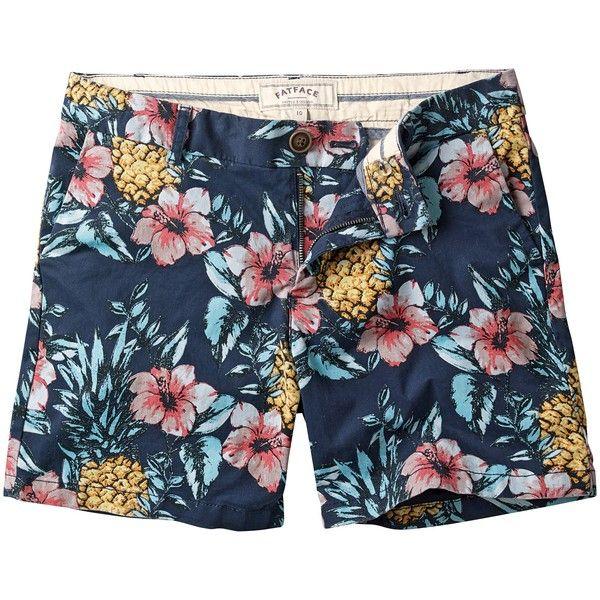 Fat Face Pineapple Modern Chino Shorts, Navy ($19) ❤ liked on Polyvore featuring shorts, short shorts, pineapple shorts, navy chino shorts, navy shorts and pineapple print shorts