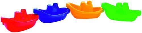 Joining Boats by Spielstabil. $7.16. Measurements: H 2.17 x L 5.71 x W 2.95 inches; Made in Germany; Materials: PVC free plastic. Ahoy! These miniature boats can be attached to each other! Fun for the bathtub or the beach, your little one will love playing with these! Set of 4: Red, Blue, Yellow, and Green.