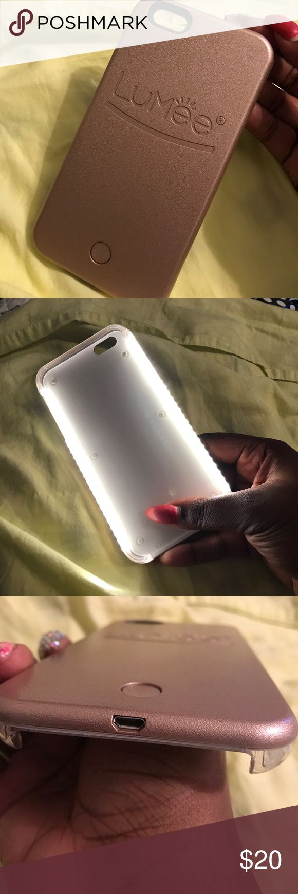 Rose Gold Lumee case for 6/6s Plus Enjoy your club nights with the lumee case . Lightly used and comes with the use charger cord Lumee Accessories Phone Cases
