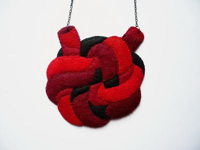 necklace by #dushky | #jewelry #accessories #felt #necklace #knot #anatomy #heart #red #handmade #crafts