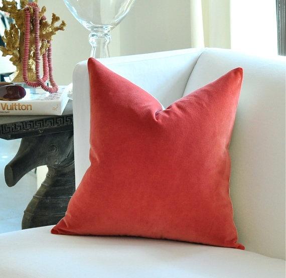 coral velvet pillow: Pillows Covers, Living Rooms, Belgium Velvet, Blue Decor, Rooms Ideas, Coral Velvet, Pottery Barns, Rooms Decor, Velvet Pillows
