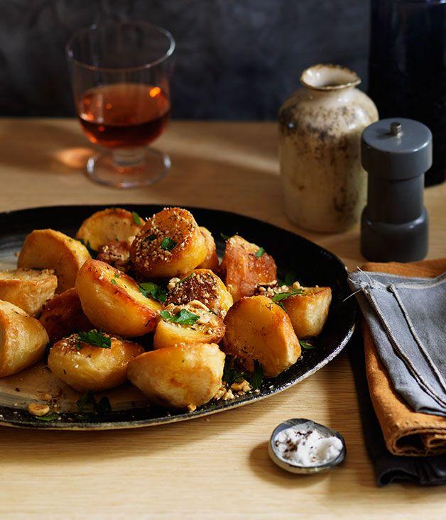 Goose-fat roast potatoes with dukkah :: Gourmet Traveller Magazine Mobile