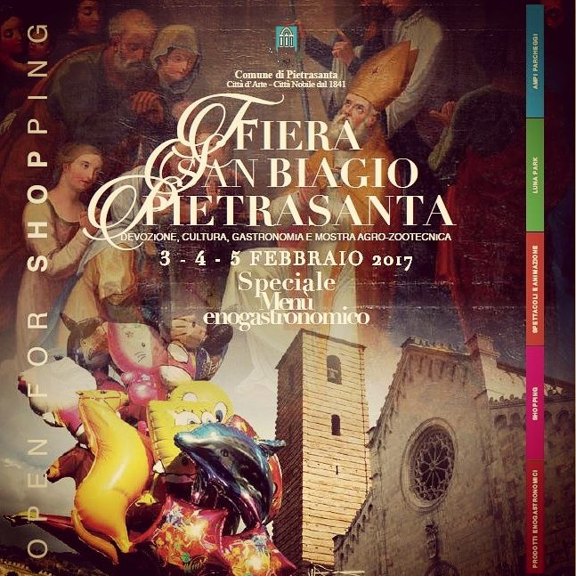 Dal 3 al 5 Febbraio 2017 si onora il San Biagio, Santo Patrono di Pietrasanta con fiera, luna park e vari eventi eno-gastronomici, culturali e religiosi.