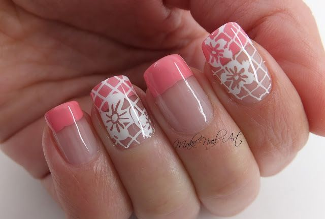 Pink French Manicure And Stamping Flowers Spring Nail Art Design Spring Nails Pink French Nails Spring Nail Art
