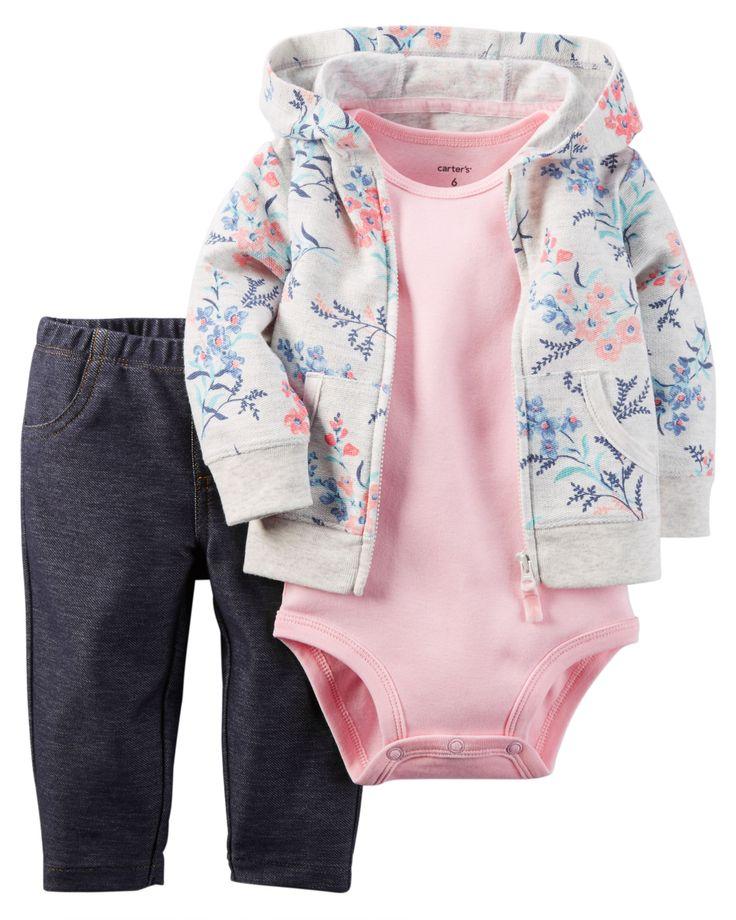 Ensemble 3 pièces cardigan pour bébés filles | Carter's OshKosh Canada