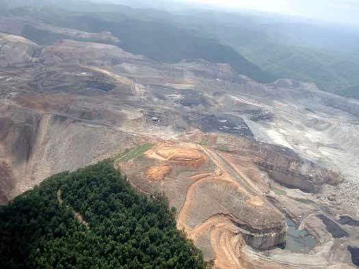 Mountaintop removal/valley fill coal mining in southern West Virginia.   Photo by Vivian Stockman,