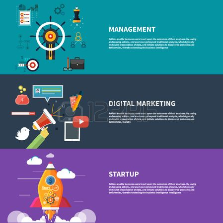 Flat design style modern vector illustration concept for web and infographic. Management digital marketing srartup planning and analytics design and development launch. Banners for websites. #infographic