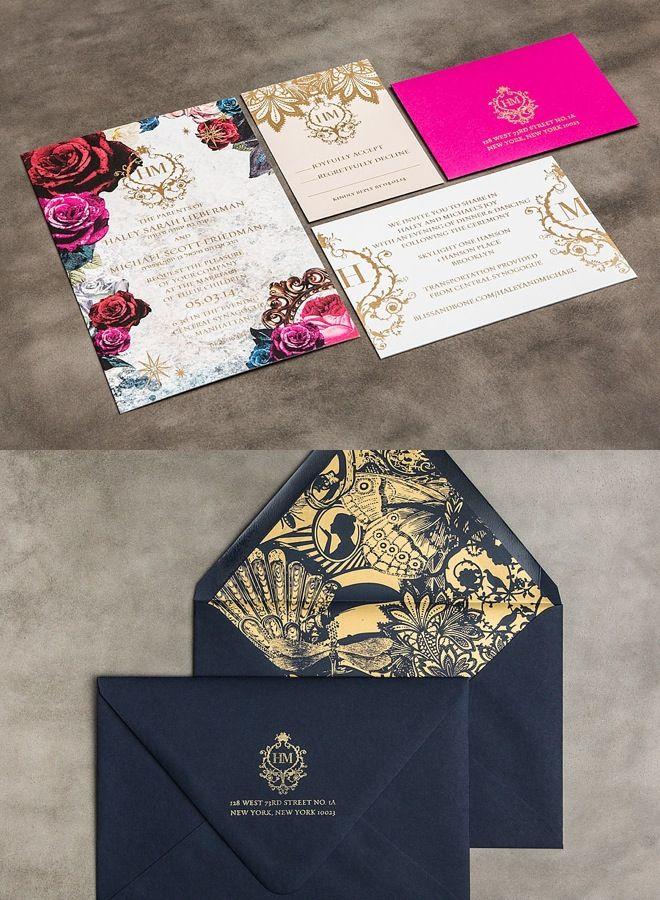 Convites de casamento diferentes e maravilhosos! Estampas, brasões, monogramas e marcas próprias fazem a diferença. O azul escuro com dourado é fino e foge das cores tradicionais.