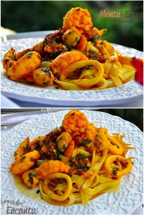 Spaghetti ai Frutti di Mare, macarrão, camarões lulas, vieiras, lagostins, polvo, um toque de açafrão, vinho branco e raspas de limão siciliano.