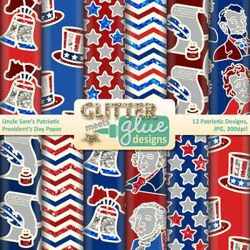 President's Day paper clipart galore! Make your classroom newsletters, lesson and unit plans, games, manipulatives, and TPT seller products colorful with this United States patriotic set of digital scrapbook papers!Uncle Sam's Patriotic President's Day Digital Scrapbook Paper Clip Art includes 12 patriotic, glittery President's Day papers in .jpg (white background) format.