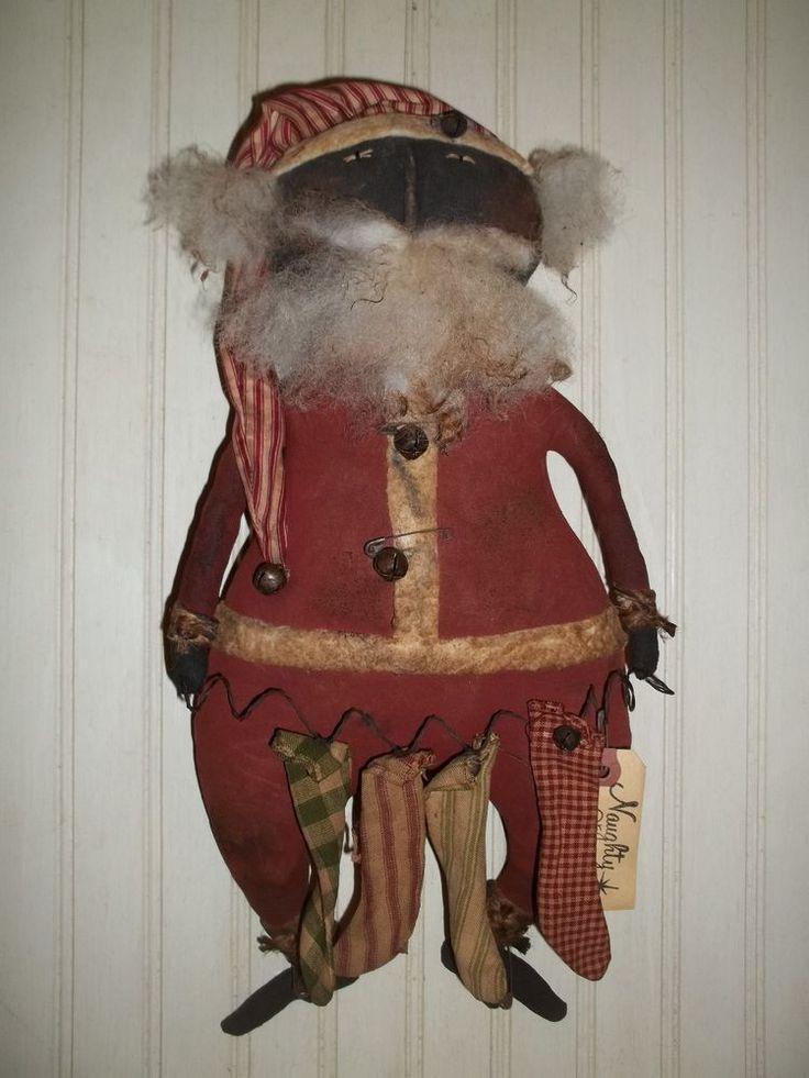 Primitive Grungy Naughy or Nice Santa Claus Doll & Homespun Christmas Stockings #NaivePrimitive