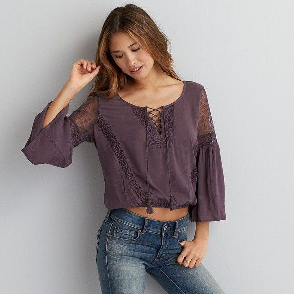 American Eagle Lace Inset Peasant Top 50 Liked On