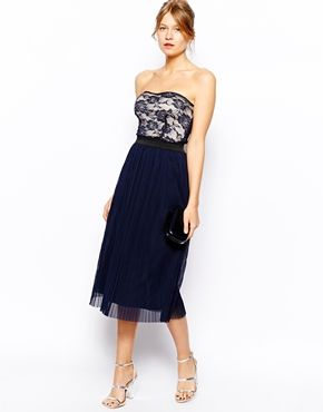 Image 4 of Love Lace Bandeau Midi Skater Dress with Pleat Skirt
