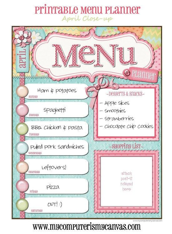 17 menu template and meal planning charts kitchen by