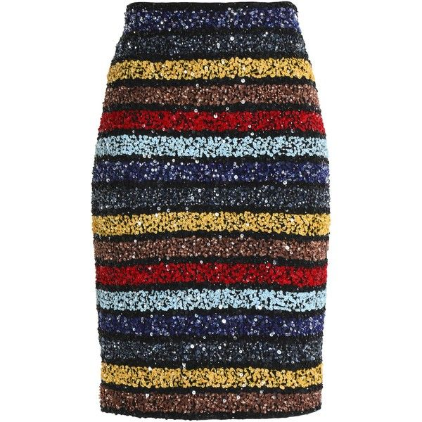 ALICE + OLIVIA   Striped sequinned skirt ($285) ❤ liked on Polyvore featuring skirts, bottoms, beaded skirt, knee length skirts, alice olivia skirt, sequin stripe skirt and sequin skirt