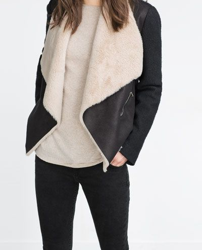 Image 2 de Veste en imitation peau lainée de Zara