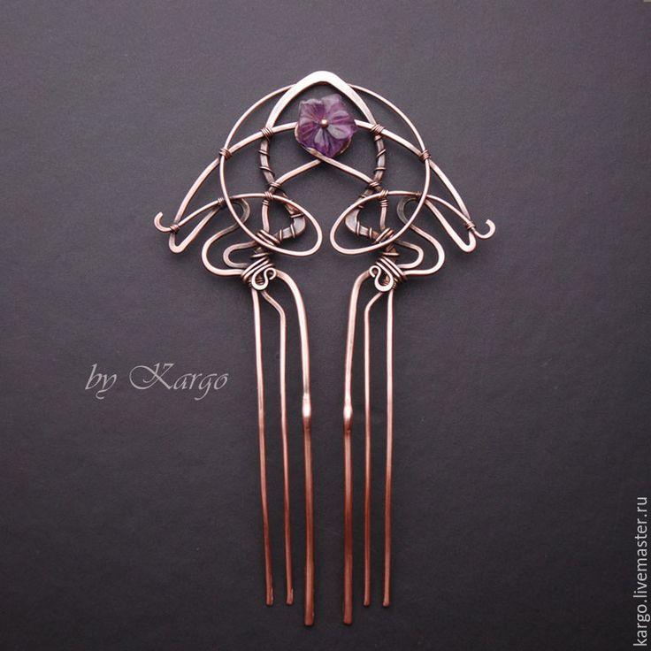 Купить Гребень madam Lermont - фиолетовый, Ар Нуво, art nouveau, модерн, wire wrap