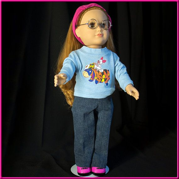 """Halloween Outfit w 'Designer' Jeans n T-Shirt w Eeyore & Piglet in Halloween Costumes. These Clothes fit American Girl Style 18"""" dolls."""