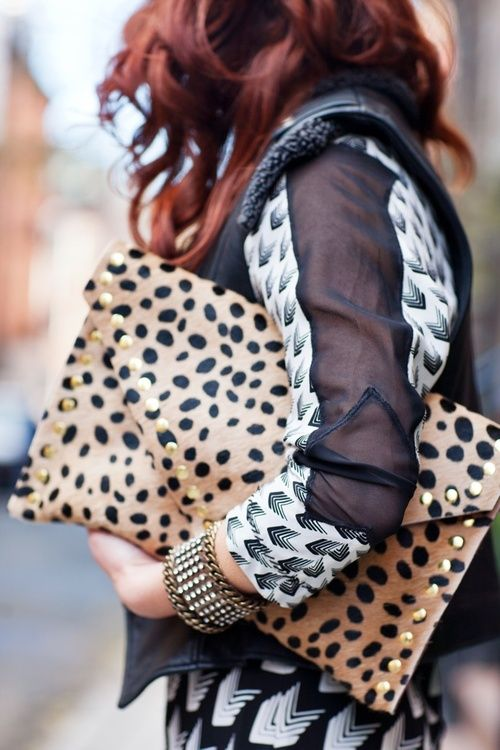 gold and prints // love this clutch
