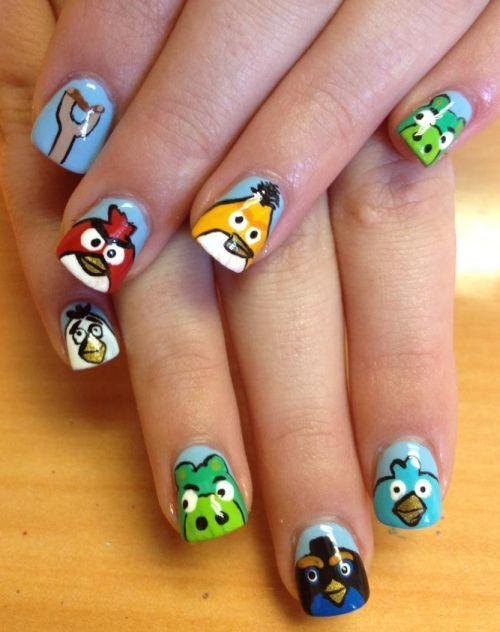 AB nailart: Nails Stuff, Angry Birds Nails Art, Nails Design, Abs Nailart, Decorated, Birds Parties, Art Projects, Nail Art, Art Nails