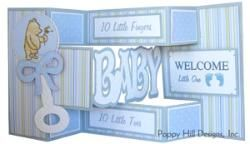 Tri-Shutter Card - BABY.  Cut with your own electronic cutting machine.  These looks great in various pastel colors.  Visit our webpage for details.