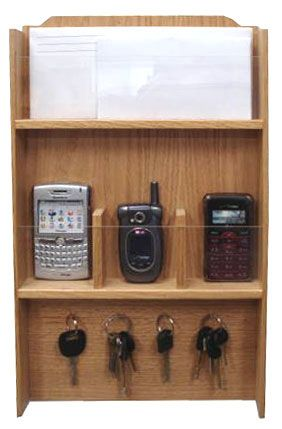 Three Wireless Phone And Key Holder Made From Oak Wood.