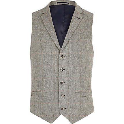 Light grey smart check waistcoat $80.00 river island