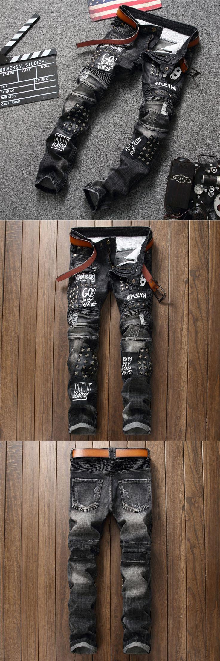 Patchwork Straight Embroidery Rivets Punk Men's Ripped Rap Skinny Jeans High Quality Moto Jeans Hip Hop Slim Fit Men Biker Jeans