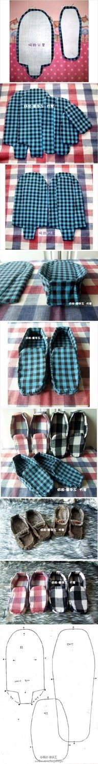 Awesome easy pattern tutorial for mens moccasin slippers gift diy. Hello Father's Day present!!